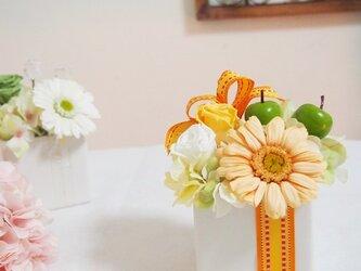 プリザーブド・ガーベラのフルーティアレンジ(オレンジイエロー)の画像