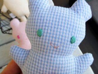 再出品です。赤ちゃん用 くまのにぎにぎ(ブルー)の画像