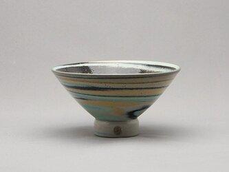 マーブル茶碗(青黒黄緑白)の画像