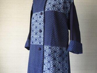 手織り久留米絣:麻の葉と十字絣のコート(W-18)の画像