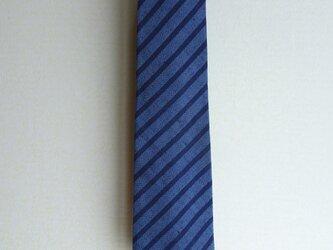 手織り久留米絣:ストライプのネクタイ(N-1)の画像
