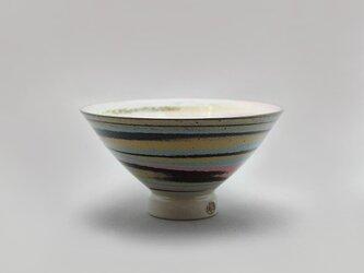マーブル茶碗(ピンク青黒黄白)の画像