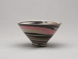 マーブル茶碗(ピンク黒茶白)の画像