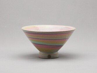 マーブル茶碗(ピンク紫緑黄白)の画像