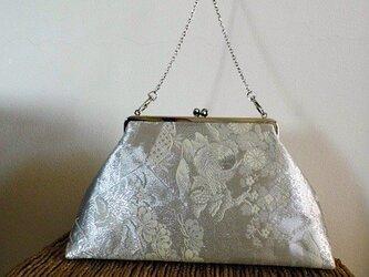 真砂つづれ九百織吉兆帯・銀糸&象牙色・ハンド&ショルダー2wayがま口バッグの画像