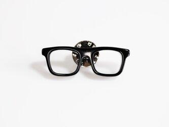 メガネピンズ(ウェリントン、Sサイズ、黒、短針)の画像