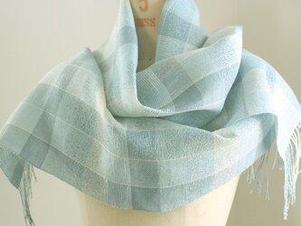 手織り ブルーの絹麻ストール①の画像