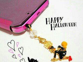 黒猫と赤いヒールの魔女のHalloweenゆらゆらイヤホンジャック☆★*の画像