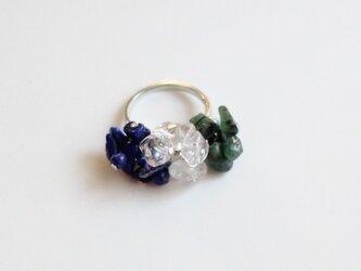 ラピスラズリ&クリスタル(水晶)&エメラルドのトリコロールリングの画像