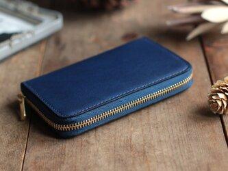 藍染革[migaki] ×オイルレザー コインケースの画像