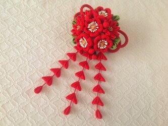 〈つまみ細工〉藤下がり付き梅と小菊と江戸打ち紐の髪飾り(赤)の画像
