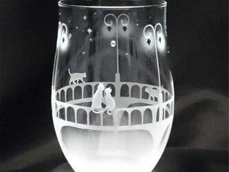 【橋を照らす街灯の下で】猫モチーフのタンブラーグラス(vol.2)の画像