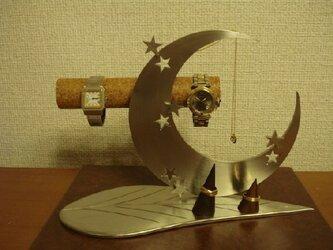 プレゼントに! アクセサリースタンド リーフ三日月腕時計、ネックレス、リングスタンド トレイ無しの画像