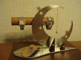 プレゼントに! アクセサリースタンド リーフ三日月腕時計、ネックレス、リングスタンドトレイの画像