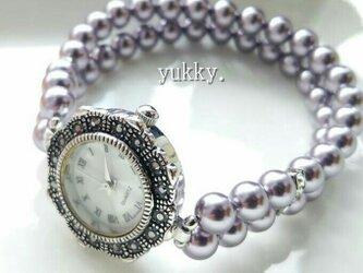 <受注制作>スワロフスキーパール(モーブ)♪ブレス時計の画像
