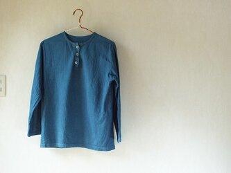 浅間山麓育ちの藍で染めました・長袖クルタシャツの画像
