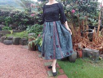 マチ入り大島紬のスカート~ 裏付 ~ 一点品の画像