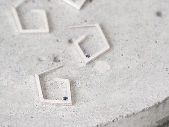 Open stone ダイヤ フープ ピアス シルバー925の画像