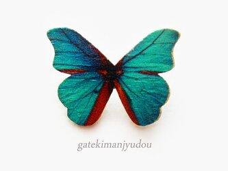 蝶のウッドブローチ/浅葱色の画像