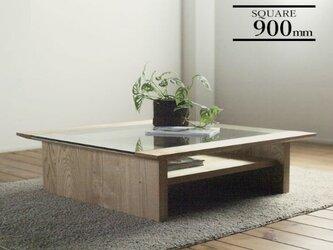 天然オイル仕上げ「栗の木」ガラステーブル 90cmの画像