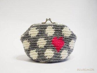編みがま口・角型【グレー×生成り×ハート】の画像