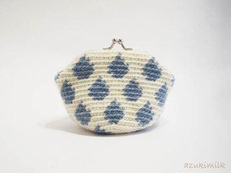 編みがま口・角型【生成り×水色しずく】の画像