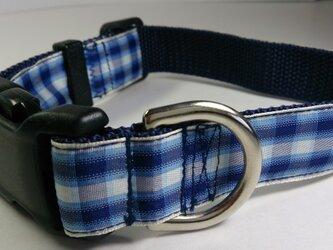 犬の首輪(中型犬~大型犬)チェック柄(紺系グラデーション)の画像