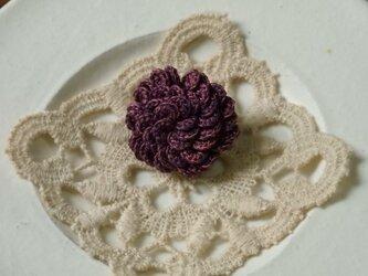 うろこブローチ  紫の画像