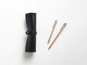 栃木レザーのマキモノペンケース 細巻 黒の画像