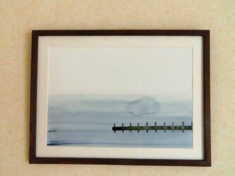 ゆる絵 桟橋  A3 + 額の画像