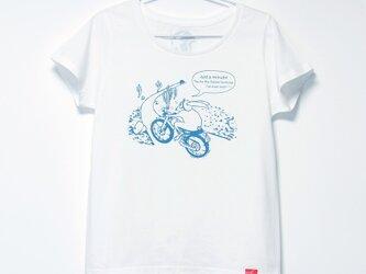 ウサギくんのTシャツ Lady's white x turquoiseの画像