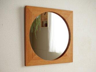 木製 鏡「しかくに◯」欅(ケヤキ)材2 ミラーの画像