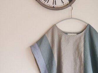 リネンパッチデザインドルマンプルオーバー(ブルー)の画像