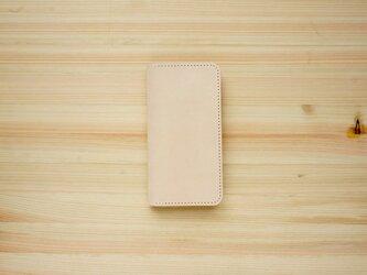 牛革 iPhone8/iPhone7カバー  ヌメ革  レザーケース  手帳型  ナチュラルカラーの画像