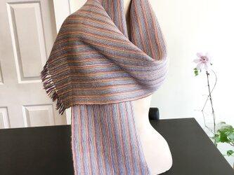 手織り シルク&麻・カラフル 織りスカーフの画像