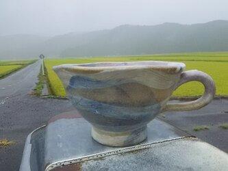 流水と雲柄のスープカップ(ベージュ)の画像