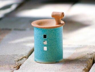 【受注制作】アロマ&茶香炉(煙突おうち)- タイプC(アオ)※抗菌や消臭、風邪予防にも◎の画像