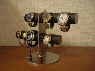 ブラック6本掛け腕時計スタンド 指輪スタンドバージョンの画像