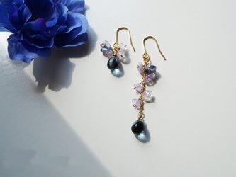 アメジストピアス Lady Smoky Blue&purple earrings P0025の画像