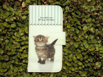 全機種対応 手帳型 スマホケース iPhoneXs iPhone9 猫 生後20日の可愛い子猫 イラストの画像