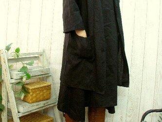 黒リネン100% 七五三・卒業・入学フォーマルにも!コート&OP アンサンブルスーツ M~5L/4サイズ セミオーダー可の画像