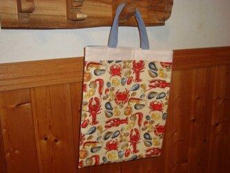 綿生地であしらえたシンプルバッグ、現品のみです!の画像