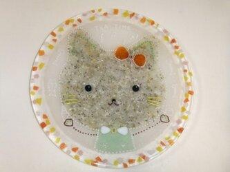 猫のケーキ皿の画像