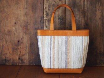 手織りと革のトートバック (mini)の画像