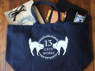 旅行にも使えるサイズの帆布ビッグトートバッグ(ロゴ) シルクスクリーン 13.CATS.WORKSオリジナルの画像