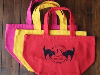 お弁当にも使えるサイズのカラフル帆布ミニトートバッグ(ロゴ) シルクスクリーン 13.CATS.WORKSオリジナルの画像