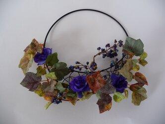 sold  紫の薔薇と蔦の壁掛けの画像