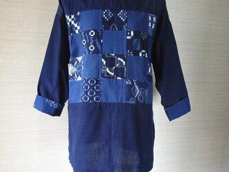 手織り久留米絣:43枚パッチワークのチュニック・ブラウス(W-12)の画像