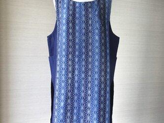 手織り久留米絣:麻の葉と11枚パッチワークのジャンパースカート(W-26)の画像