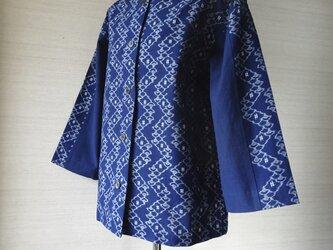 手織り久留米絣:井桁と扇面の八ッ橋のジャケット(W-32)の画像